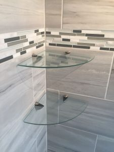 Bathroom Glass Shelves Installation